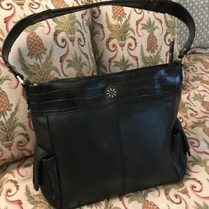 Isaac Mizrahi Live Black Leather Shoulder Bags